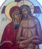 Marie et le Christ en Croix